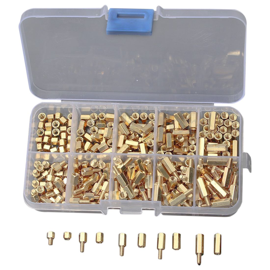 300Pcs/Kit M3 Screw Nut 4-12mm Spacer Hexagonal Brass Isolation Column Threaded Motherboard Standoffs Yellow zenhosit 300pcs female male brass copper m3 hex column spacer threaded screw nut pillars knurled standoff spacer kit