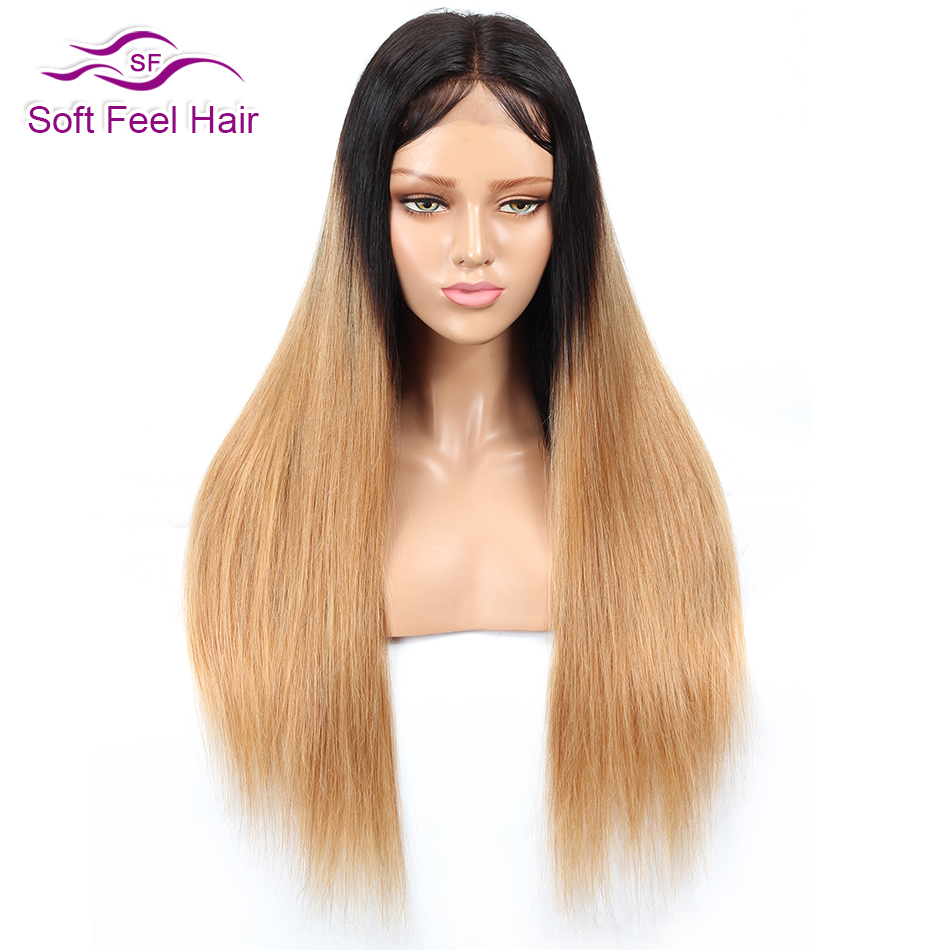 Soft Feel Hair Ombre Blonde Lace Front Wig Black 1B 27 Ombre Lace Front Human Hair