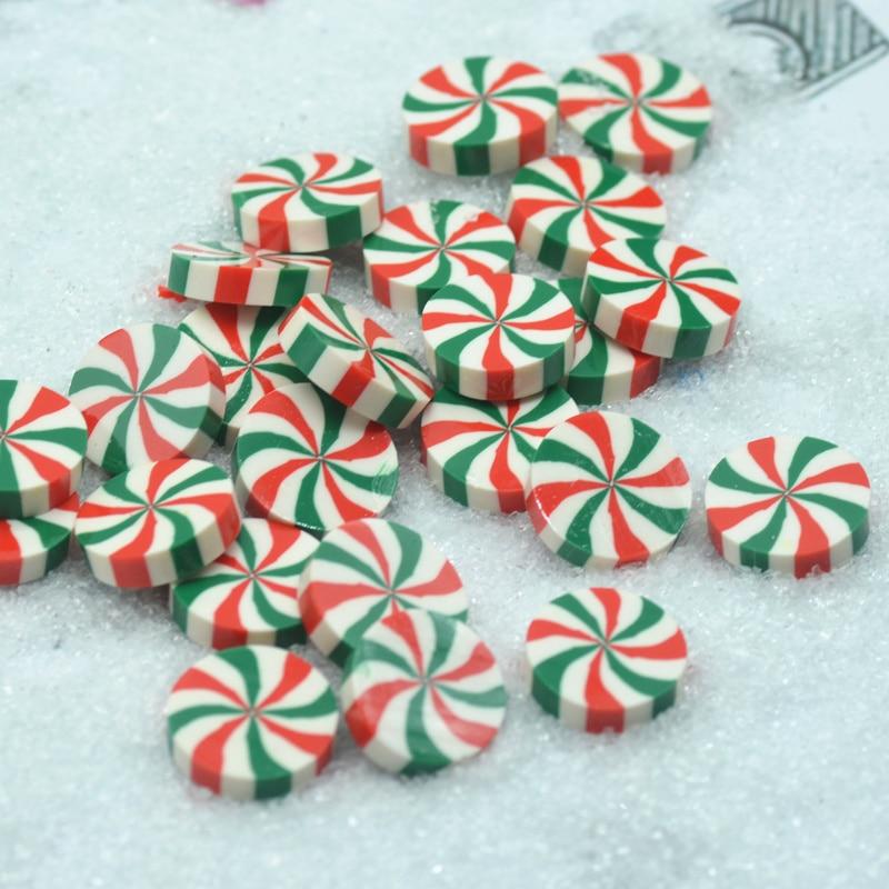 20ピース/パック20ミリメートル三色緑-白-赤ストリップフェイクキャンディー、粘土キャンディ、diyミニチュア、送料無料