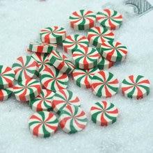 20 Teile/paket 20mm Drei-Farbe Grün-Weiß-Rote Streifen Faux Süßigkeiten, Ton Süßigkeiten, DIY miniaturen, Freies Verschiffen