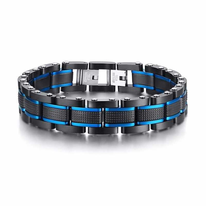 "Men's Black And Blue Stainless Steel Railroad Link Bracelet 81"" inch  7.9""inch"