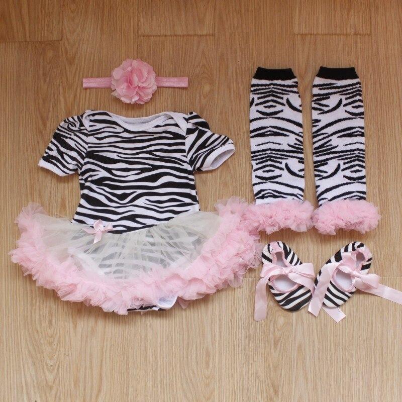 4 piezas por conjunto de encaje infantil pelele Rosa cebra bebé niñas tutú vestido diadema zapatos Leggings para 0-12 meses envío gratis
