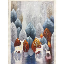 100% Hand painted forest milu deer Art Oil Painting On Canvas Wall Adornment pictures For Live Room Home Decor