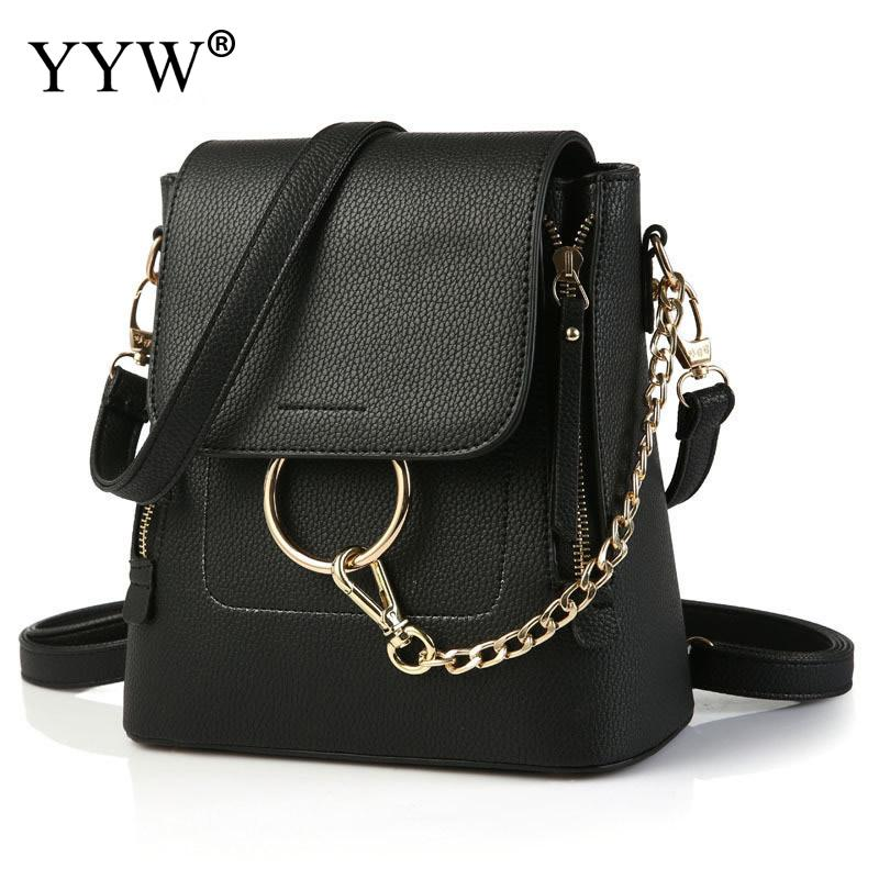 Solid Color Fashion Black PU Leather Backpack Female Backpacks for Adolescent Girls Women Chain Hasp Casual Small shoulder Bag brief adolescent therapy homework planner