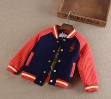 2016 Autumn Winter children s boys Add wool baseball uniform coat Pure cotton cartoon embroidery thickening