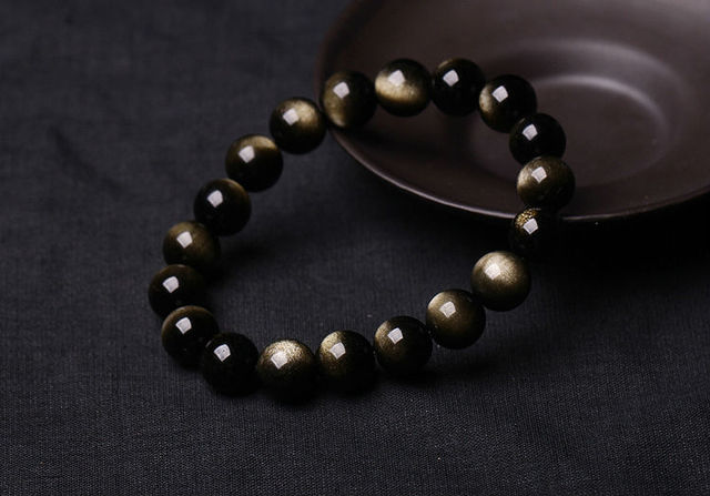 10mm Wholesale Genuine Natural Black Gold Obsidian Gems Stone Round Beads Jewelry Stretch Bracelet