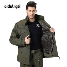 Men M65 Military Jacket Air Force One Winter Thicken Liner Detachable Tactical Combat Trench Coat Hoodie Pilot Jacket