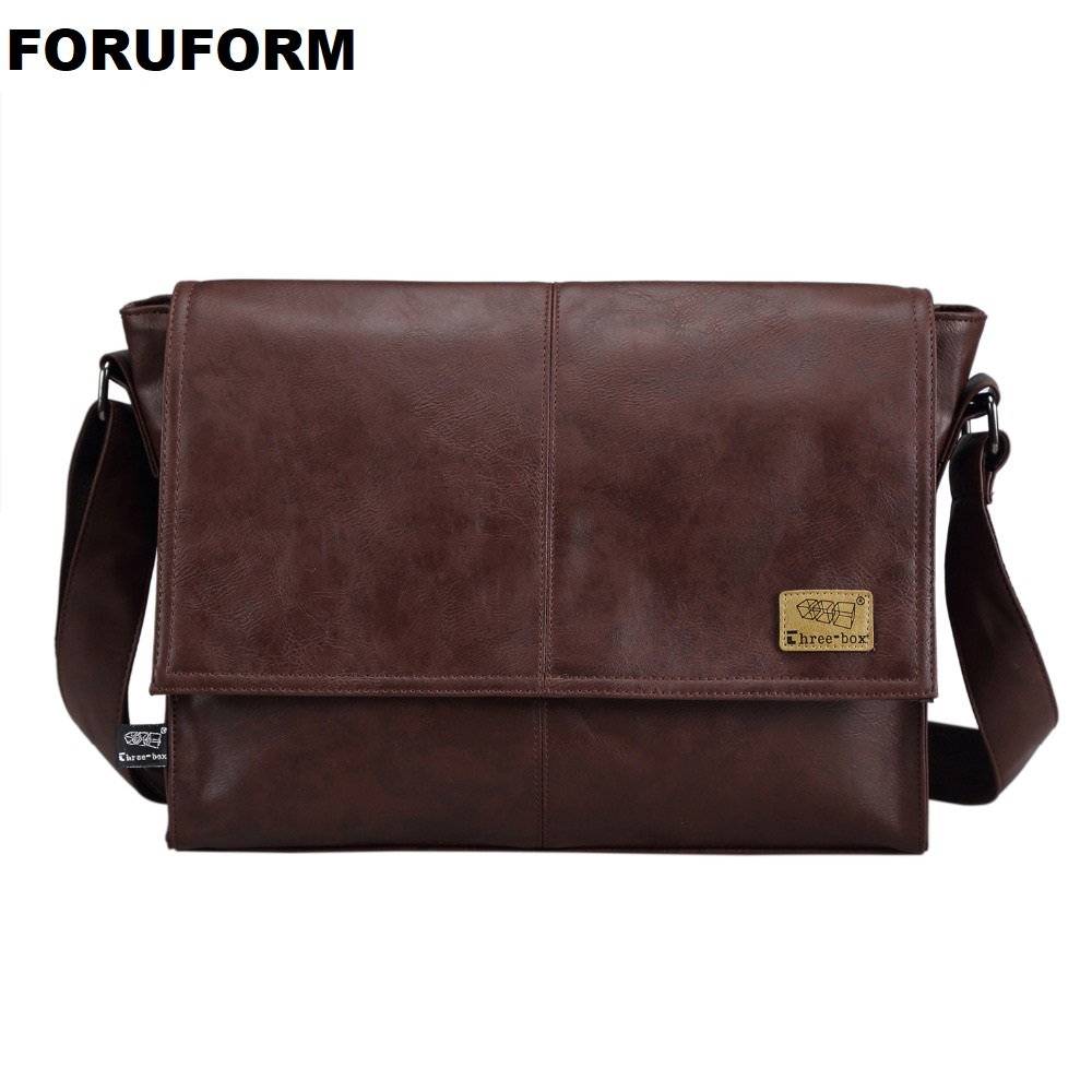 Designer <font><b>Handbags</b></font> <font><b>Men's</b></font> 14 Inch Laptop Bag Male PU Leather Messenger Bags <font><b>Men</b></font> Travel School Bags Leisure Shoulder Bags Free Ship