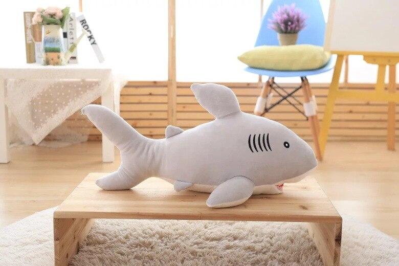 Gros peluche requin jouet belle douce requin gris oreiller poupée cadeau environ 85 cm 2575