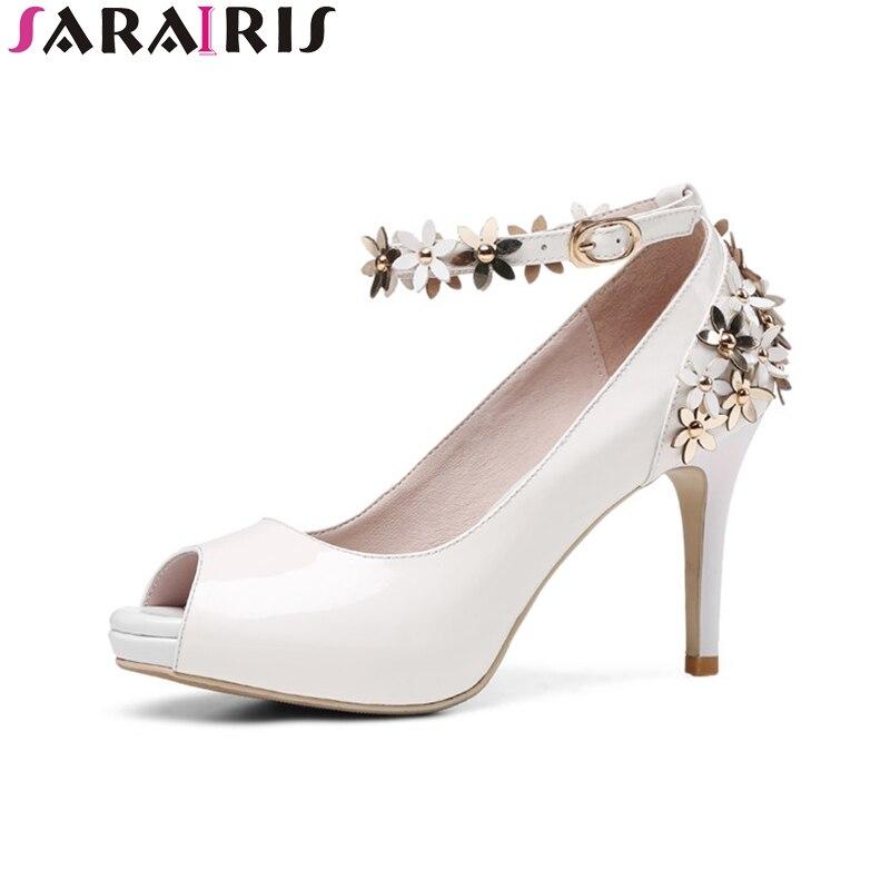 SARAIRIS 2018 Pomladna jesen Sweet Pravo usnje Peep Toe Platforma - Ženski čevlji