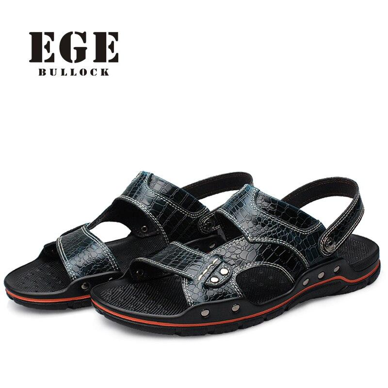 EGE Top Quality Genuine Leather Men Slippers/Sandals,Summer Fashion Crocodile Leather Mens Beach Sandals Flip Flop Plus Size