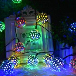 Image 3 - 태양 문자열 조명 10/20 모로코 공 LED 문자열 요정 빛 장식 휴일 크리스마스 조명 야외 웨딩 장식