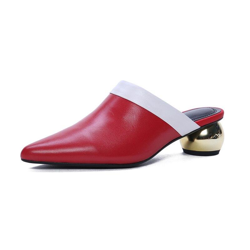 Parti En Véritable Pointu Mules Bout Mélangées D'été Chaussures Femmes Nouveauté Couleurs Pompes Noir Cuir 2019 Mode rouge Femme blanc Morazora qtxf76E