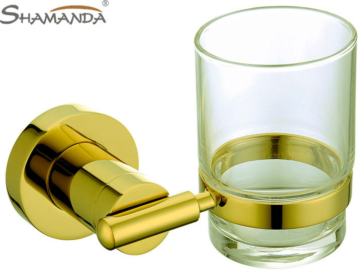 Free shipping-Solid Brass Golden finishing Single cup holder/rack /toothbrush holder Bathroom Accessories-wholesale-63003 batroom solid brass golden crystal single cup holder bathroom crystal cup rack holder hardware bath sets bathroom accessories