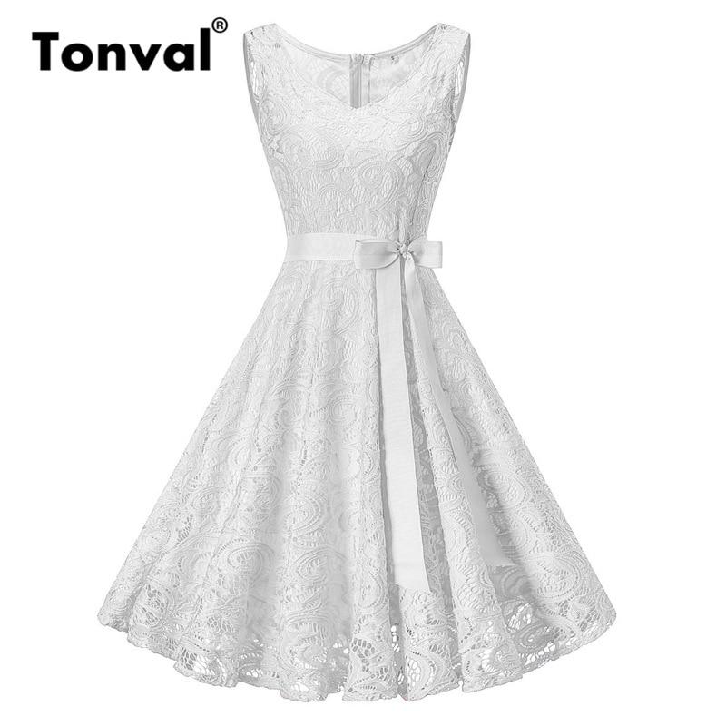 Tonval בתוספת גודל 3XL פרחוני תחרה בציר קיץ שמלת נשים לבן רטרו טוניקת שמלות קו המפלגה שמלה אלגנטית