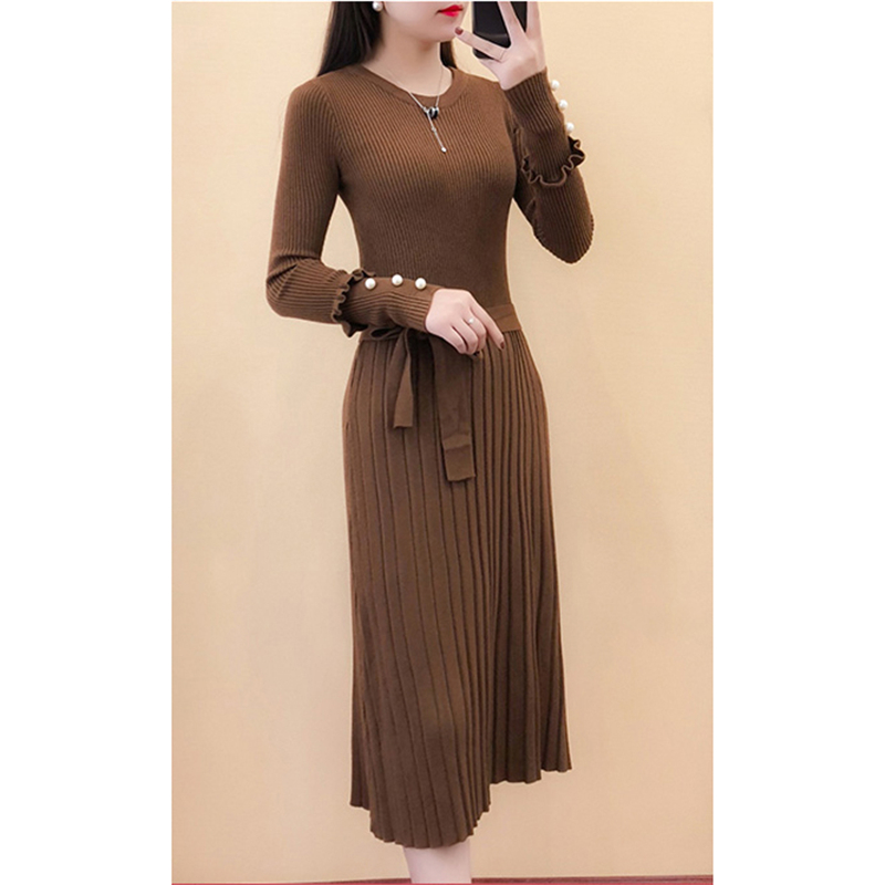 Winter temperament knitted dress women new Korean brown black apricot high waist round neck long sleeve slim fashion dress JD399 in Dresses from Women 39 s Clothing