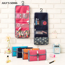 2017 JULY'S SONG New Fashion Nylon Waterproof Foldable High Capacity Portable Toiletry Cosmetic Bag For Women
