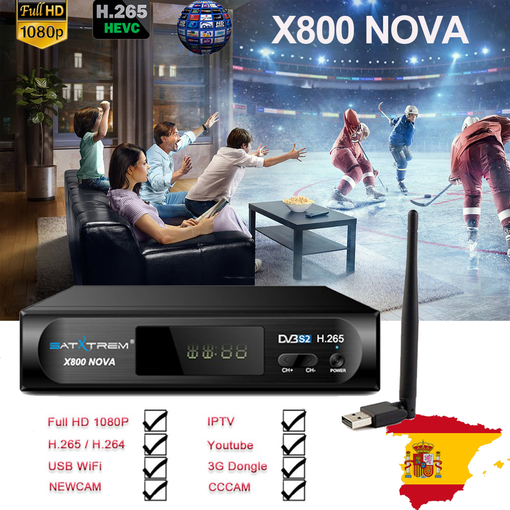 X800 nova קולט DVB-S2 H.265 טלוויזיה בלווין מקלט משלוח 1 שנה אירופה 8 קווים cccam + USB WIFI תמיכת IPTV /Youtube pk V8 nova