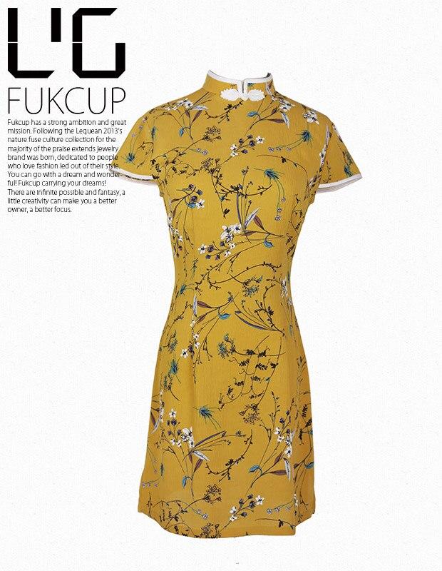 Cheongsam Jaune Quotidienne Gothique Courtes Hepburn Casual D'origine Rue Style À Fille Robe Mode Rétro Manches pgq8wx