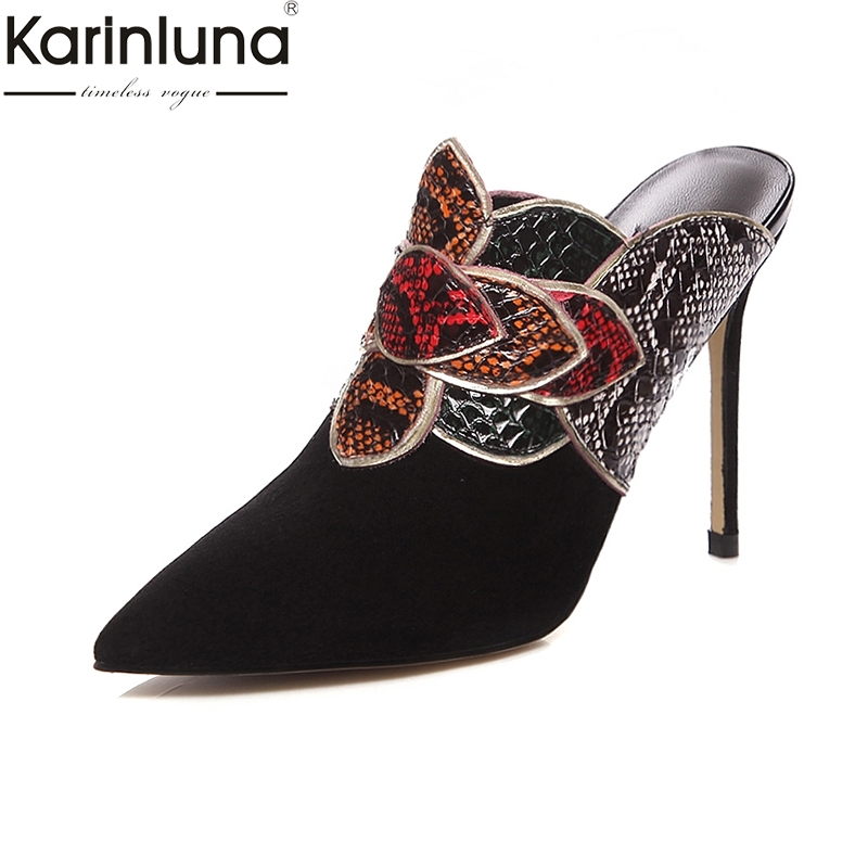 KarinLuna Genuine Leather Pointed Toe Sexy Thin High Heels Mules women s Pumps 2019 Brand New
