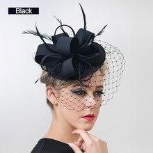 free shipping Women Fancy Feather Fascinator Hats Black Birdcage Veil  Wedding Hats and Fascinators White Net 39674309b85