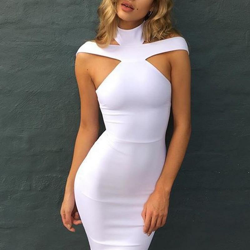 Cold Shoulder Bandage Dress Women High Waist Bow Neck Halter Bodycon Mid Dress 2018 Summer Evening Party Dress Feminino Vestido in Dresses from Women 39 s Clothing