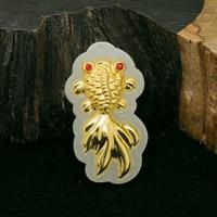 Yu xin yuan fashion 24k gold jade inlay Goldfish necklace charm pendant fine jewelry for women men gifts