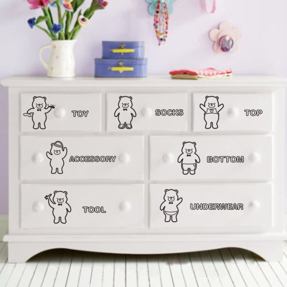 7 Bear Home Storage Decor Wall Stickers Decal Sorting Clothing Bin Drawer Vinyl Art Sticker Living