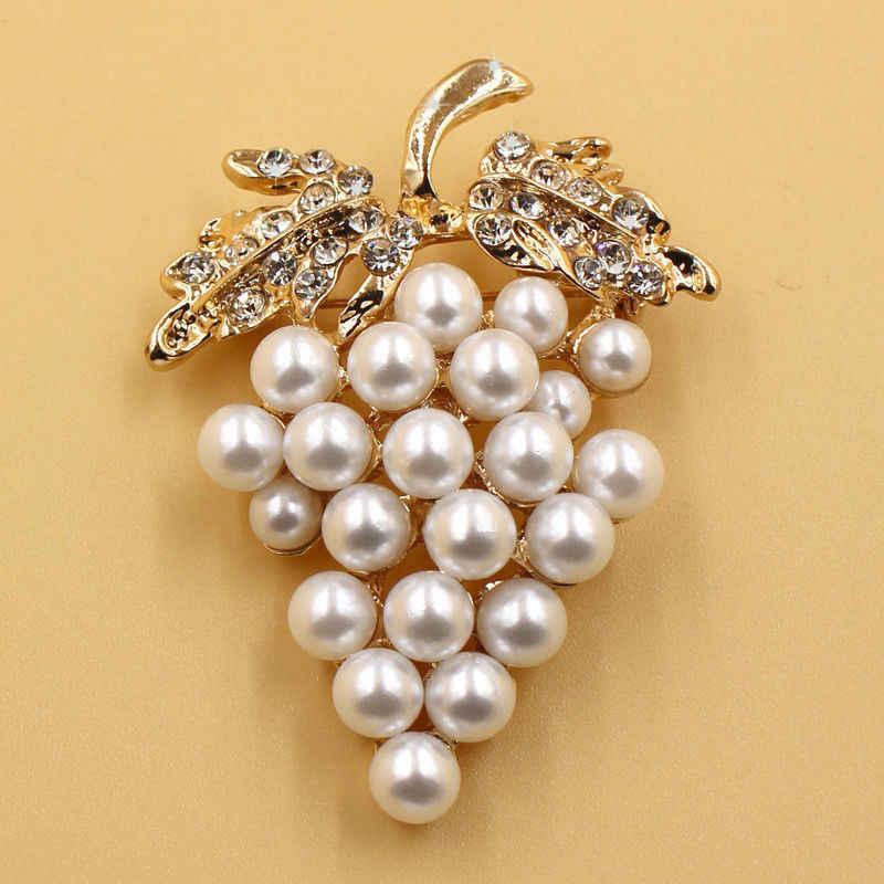 Anggur Bros Syal Gesper Pin Warna Emas Bros Mutiara Imitasi Berlian Imitasi untuk Gaun Pengantin Pengantin Klip