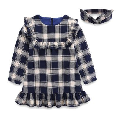 a77780ea New Autumn cute cotton Baby Girl Checked Dress Toddler Plaid Clothes Girls  Ruffles Long-sleeved Kids Party Pageant Dresses