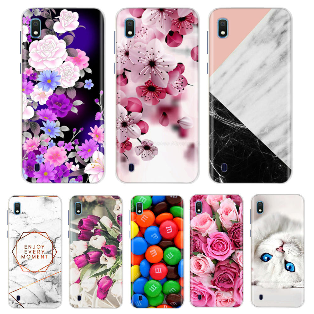 For Samsung Galaxy A10 Case Soft Silicone Flower Phone Case For Samsung Galaxy A10 A 10 A105F A105 TPU Cases Cover Funda Couqe