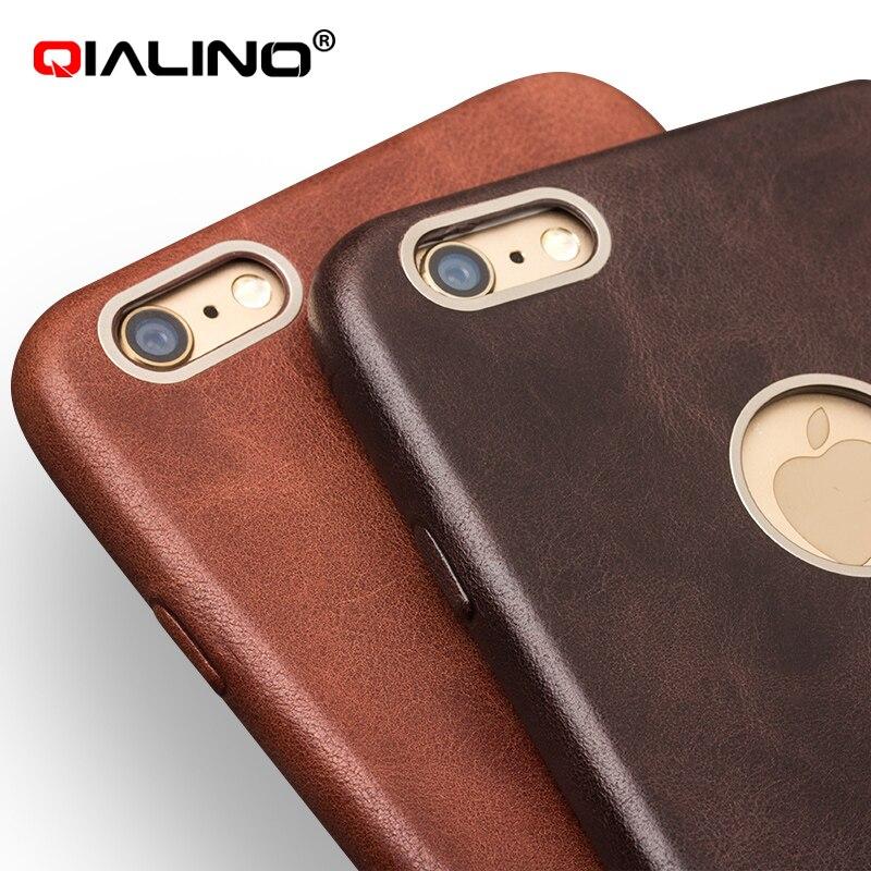 Pour iphone 6 6s cas QIALINO De Luxe Peau de Veau Véritable Étui En Cuir pour iphone 6/6 s plus la couverture 4.7/ 5.5 pouce Ultra Mince Téléphone Cas