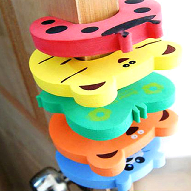 10pcs/Set Children Safety Cartoon Door Clamp Pinch Hand Security Stopper Cute Animal Baby Safety Door Stopper Clip Security 2019 1