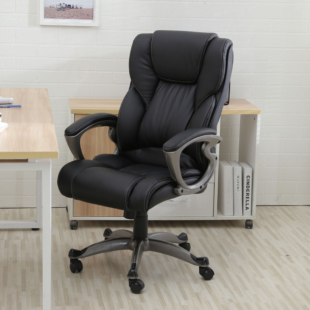 Executive task ergonomic computer desk black pu leather - High back living room chairs suppliers ...