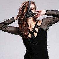 New Punk Cool Personality Mask Punk Rivets Anti Haze Air Cycling Gear ROCK Leather Mask Black Mask Face maske Christmas props