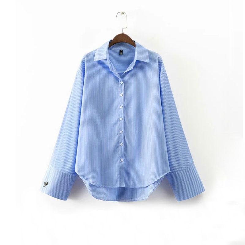 Mujeres Novio Camisa de La Blusa Suelta de Manga Larga y Ancha Bordado Azul de R