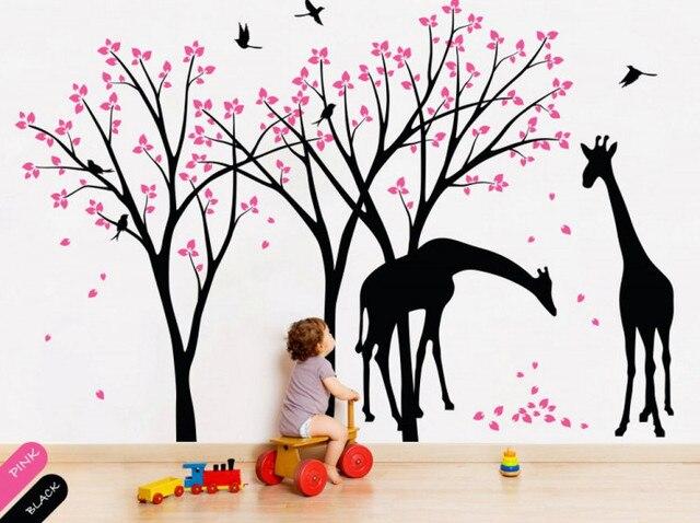 giraffe decal jungle nursery birds wall sticker gender neutral wall