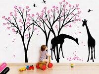 Giraffe Decal Jungle Nursery Birds Wall Sticker Gender Neutral Wall Decals Removable Baby Room Decor DIY For Children Room 722T