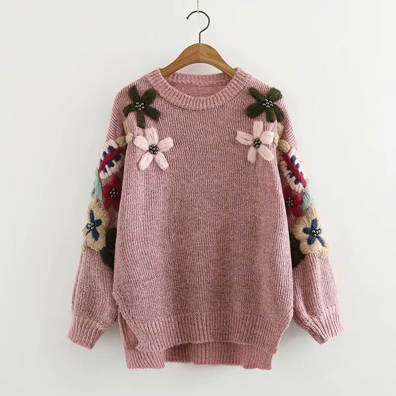 Autumn Winter Sweater Women Handmade Beaded Flowers Embroidery Round Neck Pullovers Small Fresh Loose Sweater jf3197