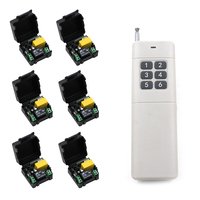 Best Price AC 220 V 1 CH RF Wireless Remote Control Switch System 6pcs Receivers And