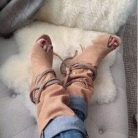 Для женщин Летняя обувь 2018 пикантные туфли с открытым носком ботильоны на высоком каблуке высокое качество из флока полусапожки цепи плете...