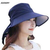 2a09b940d5ed15 SUOGRY Women Summer Sun Hat Cotton Cap Chapeu Feminino Praia Chapeau Femme  Bill Neck Flap UV