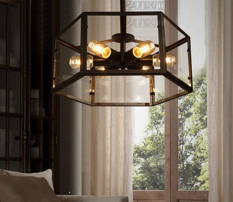 American Vintage Hexahedral Glass Pendant Light Fixture DIY Home Deco Dining Room 6 Pcs E27 Edsion