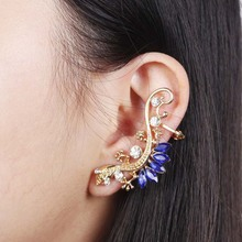 Rhinestone Gecko Ear Cuff Earrings 2017 Women Fashion Gold Color Punk Exaggerated Lizard Stud Earrin