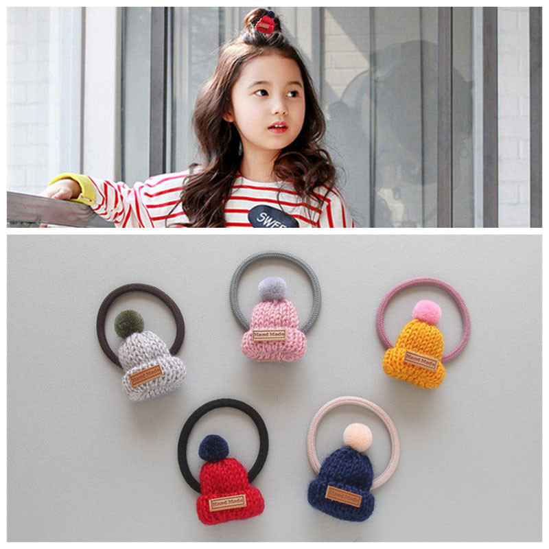 Korean Version Girls Headwear Knitted Hat Hairring Children Hair Accessories Christmas Cap Shaped Rubber band knitted skullies cap the new winter all match thickened wool hat knitted cap children cap mz081