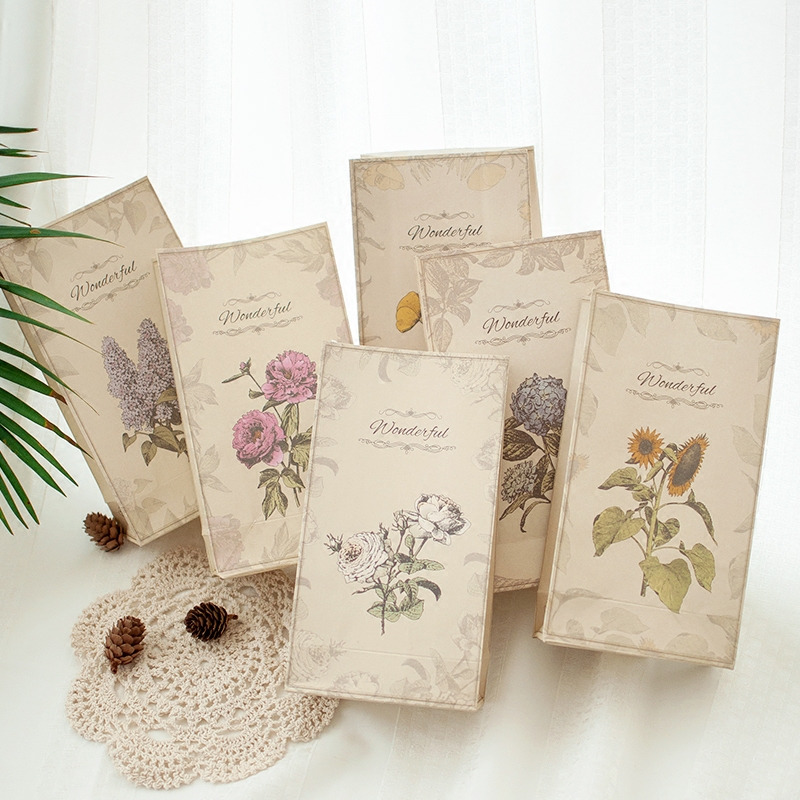 1pc Retro plants paper Gift bag candy Florist baking Creative packaging bag Holiday supplies
