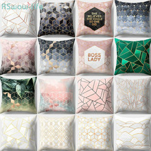 45*45cm Geometric Sofa Pillows Covers Peach-Skin Fur Creative Home Office Decorative Polyester Peach Skin Geometry Printed Words