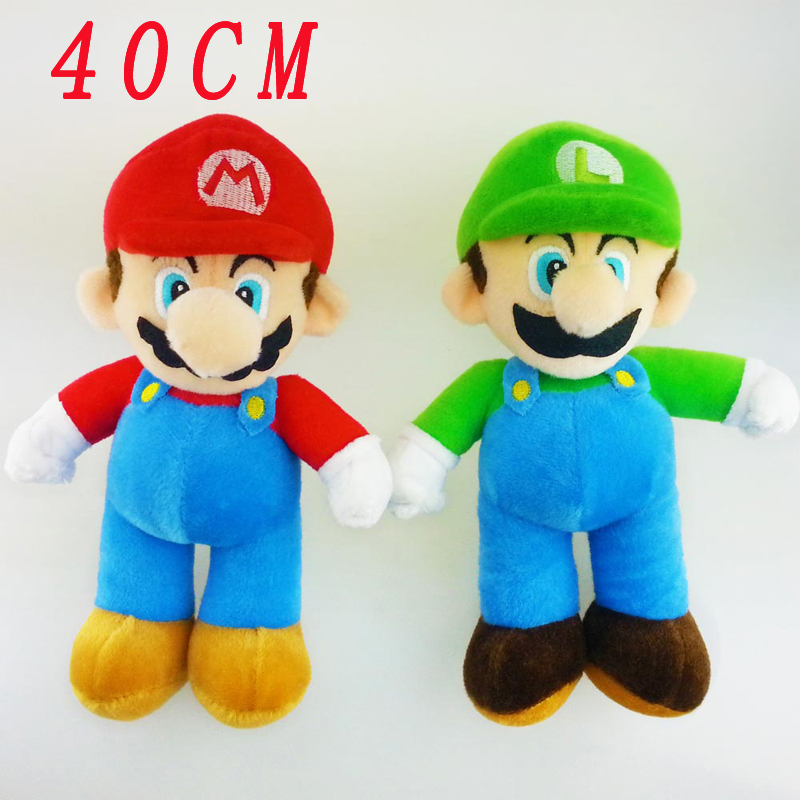 40cm Super Mario Bros Soft Plush Mario Luigi Plush Doll Toys Mario Pelucia Stuffed Toy Fashion Dolls For Children Gifts