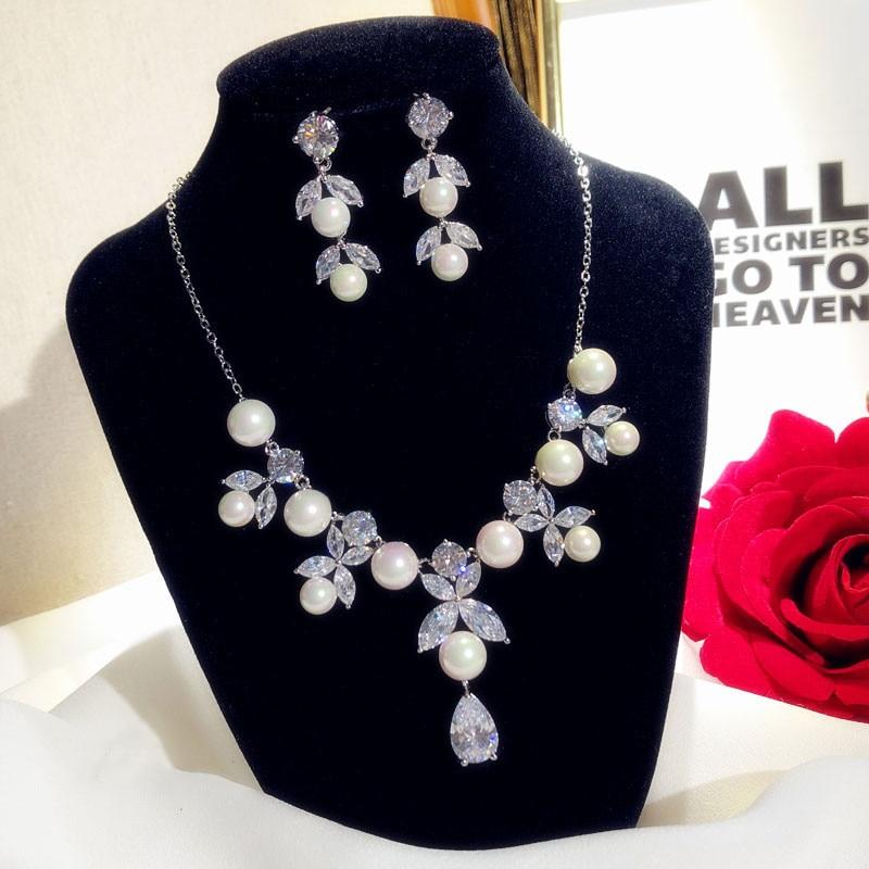 Ensembles de bijoux fins pour femmes luxe Vintage perles d'eau douce zircon cubique boucles d'oreilles collier pendentif de mariée mariage Bijox - 4