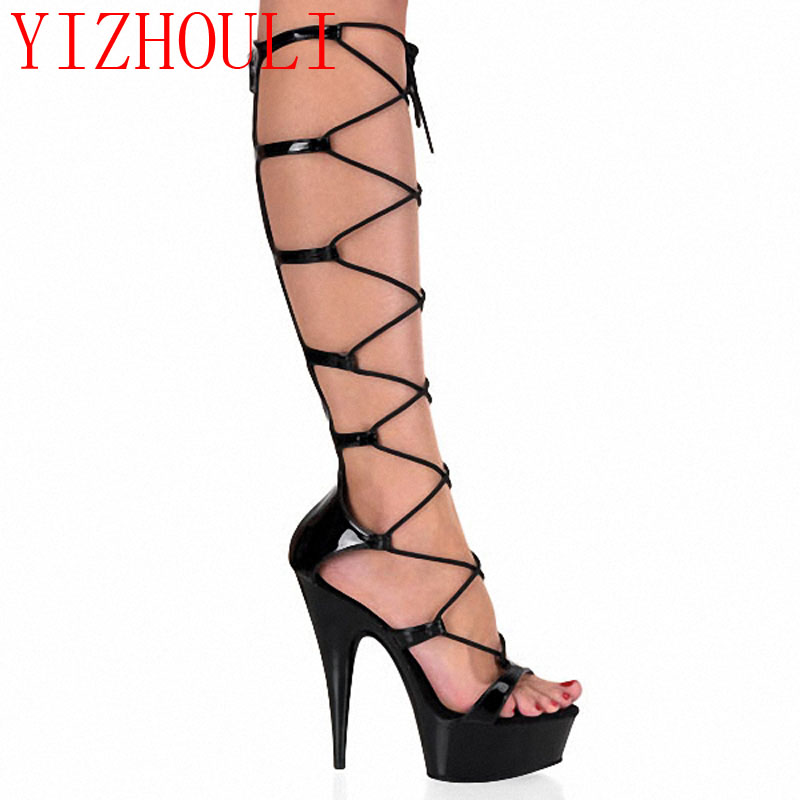 Shoes Sandals 15cm Sexy Lady Fashion Bright-Drill Ribs Beauty High-Transverse Love